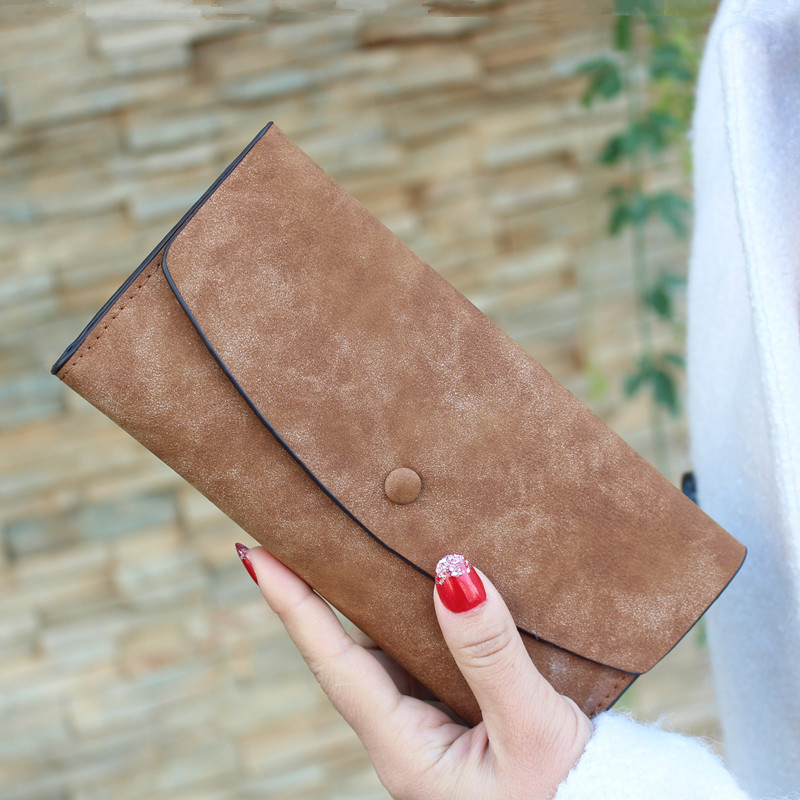 2016 Retro PU long Wallets For Women Matte Texture Solid Exquisite Lady Purse Card Holder Craft Free Shipping High Quality J443(China (Mainland))