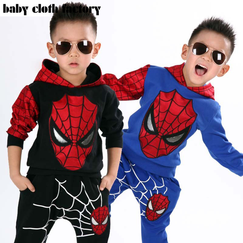 Marvel Comic Classic Spiderman Child Costume Sports suit 2 pieces set Tracksuits boys Clothing sets Coat+Pant for 2-7y(China (Mainland))