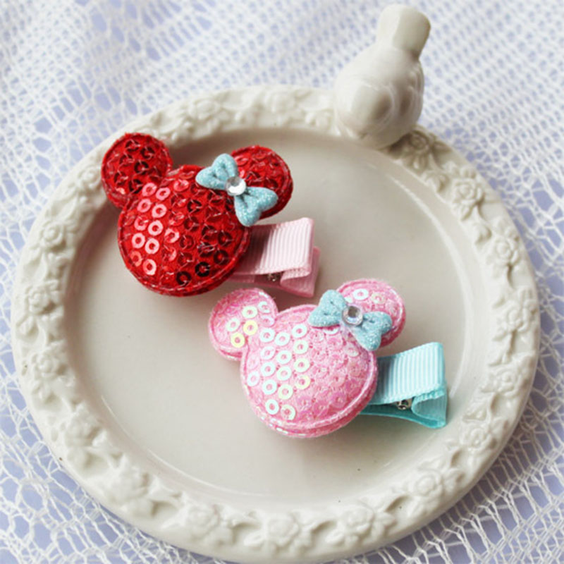 2015 Hot New Korean Cute Pink Paillette Mickey Princess Baby Haipins Side Clips Barrette for Children Girls Hair Accessories(China (Mainland))