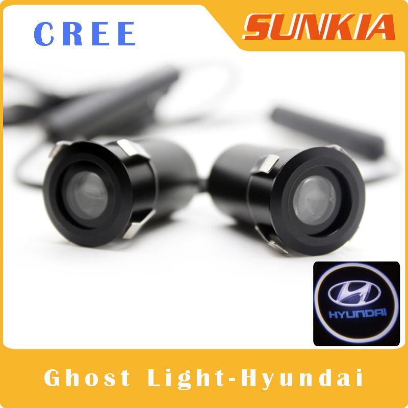 2Pcs/Lot CREE Large Power Car Door Welcome Light Ghost Shadow Light Hyundai Logo Laser Projector For Sonata Genesis IX35 VERNA(China (Mainland))