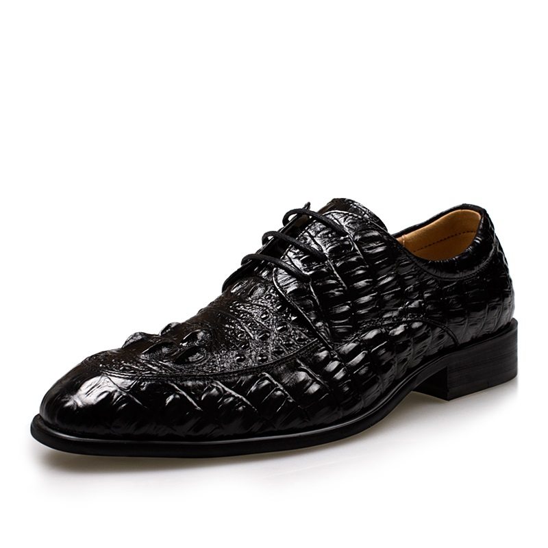 New Hight Quality Mens Genuine Crocodile/Alligator Leather Formal/Business Oxford Shoes, Elevator Height Increase Shoes Black<br><br>Aliexpress