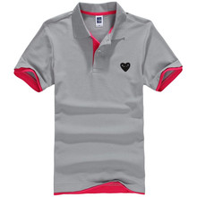 2016 Summer Short Sleeve Polo Homme Casual Mens Solid Polo Shirt Embroidery heart Logo Top quality Plus Size camisa polo