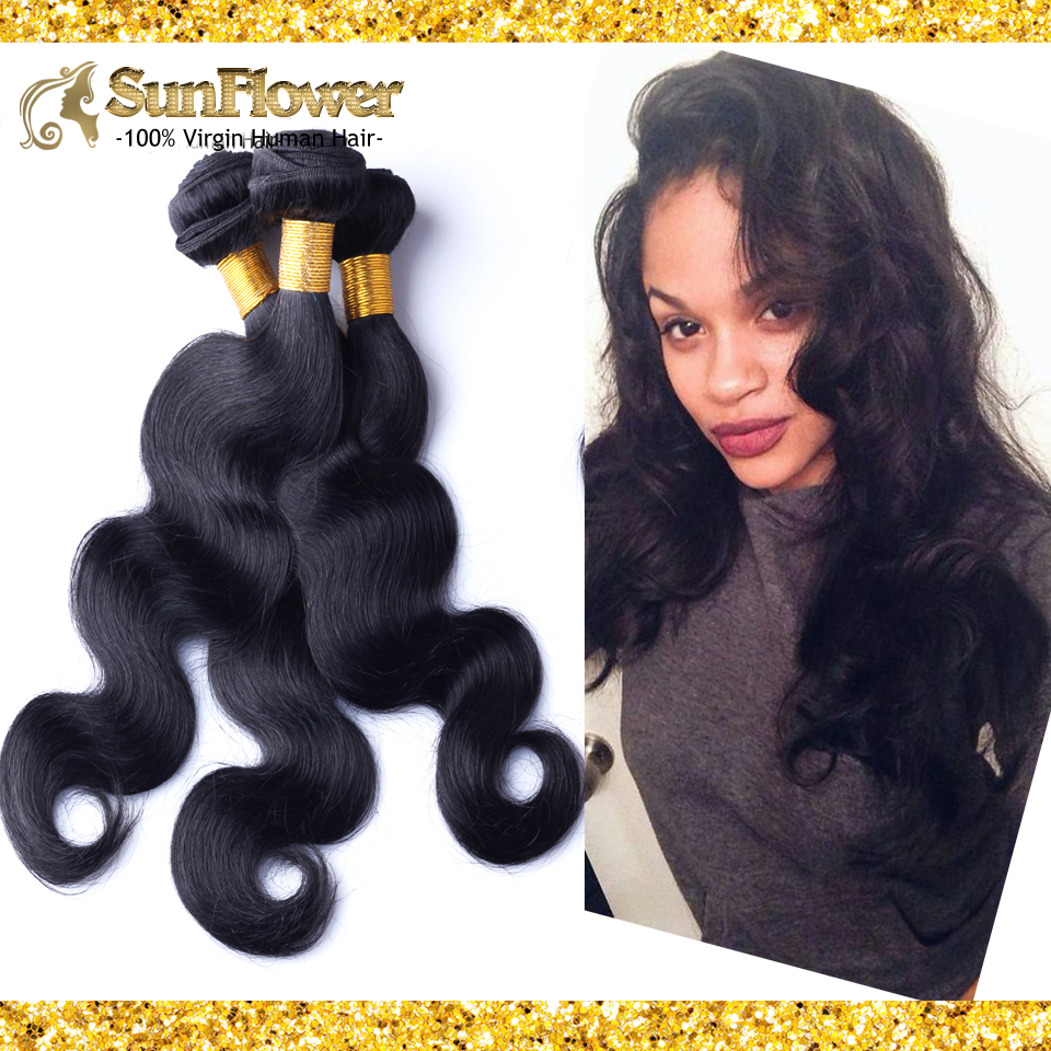 Indian Cabelo Humano Body Wave 4pcs Unprocessed Remy Hair 6A Virgin Hair #1B Natural Black Rosa Hair Products Supplier B-104