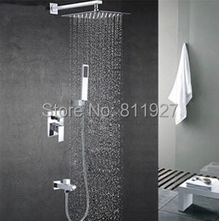 High quality copper brass bathroom square rain shower set hot mixer faucet tap set chuveiro torneira Fast delivery free shipping(China (Mainland))