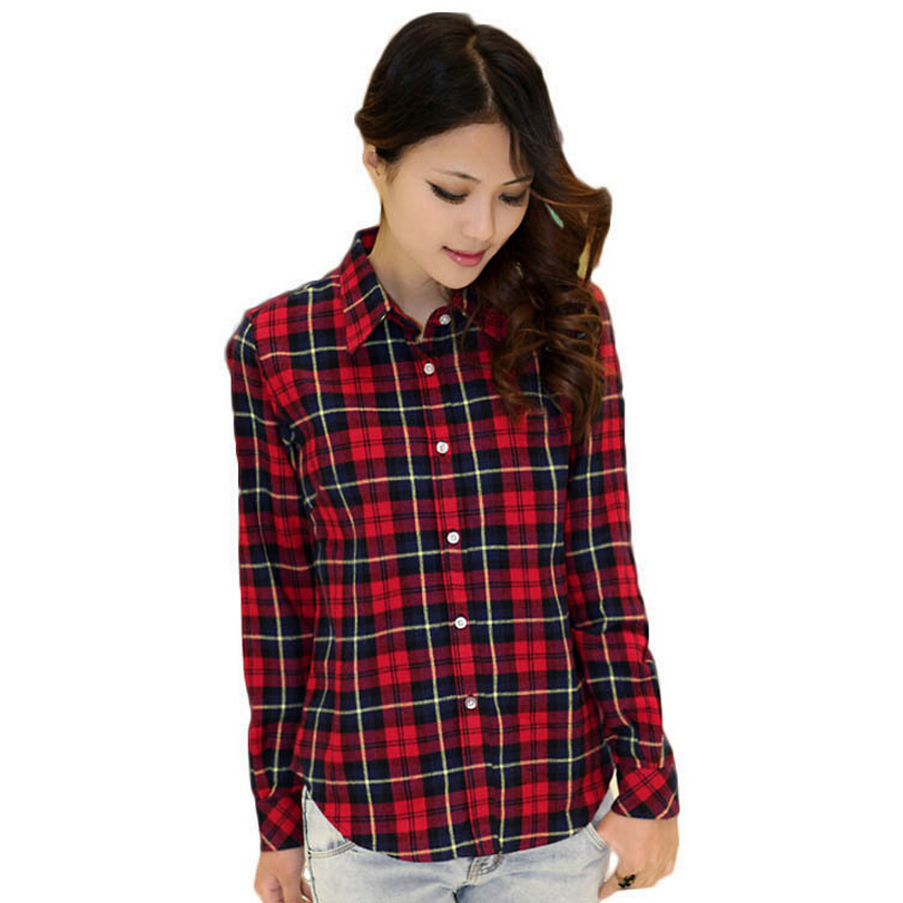 Plaid shirt women casual shirts 2015 new ladies office Womens red tartan plaid shirt