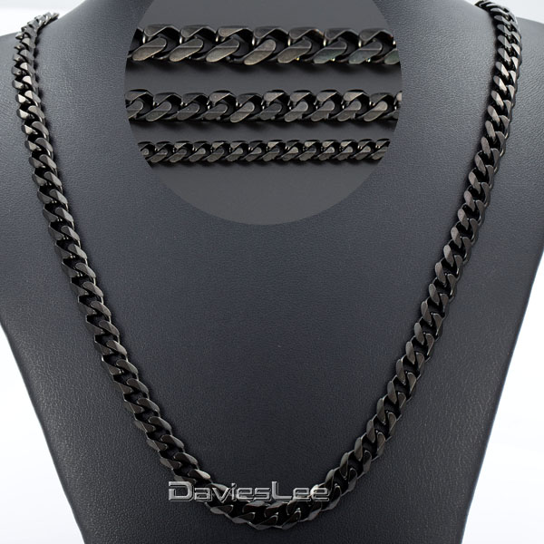 3/5/7mm 18-36inch Mens Boys Black Tone CURB CUBAN Link Necklace Stainless Steel Chain Wholesale Price DLKNM09(China (Mainland))