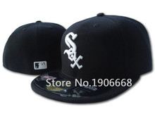 Top Quality Classic On Field Chicago White Sox Baseball Fitted Hats Black Color Sports Full Closed Design Caps White Letter SOX(China (Mainland))