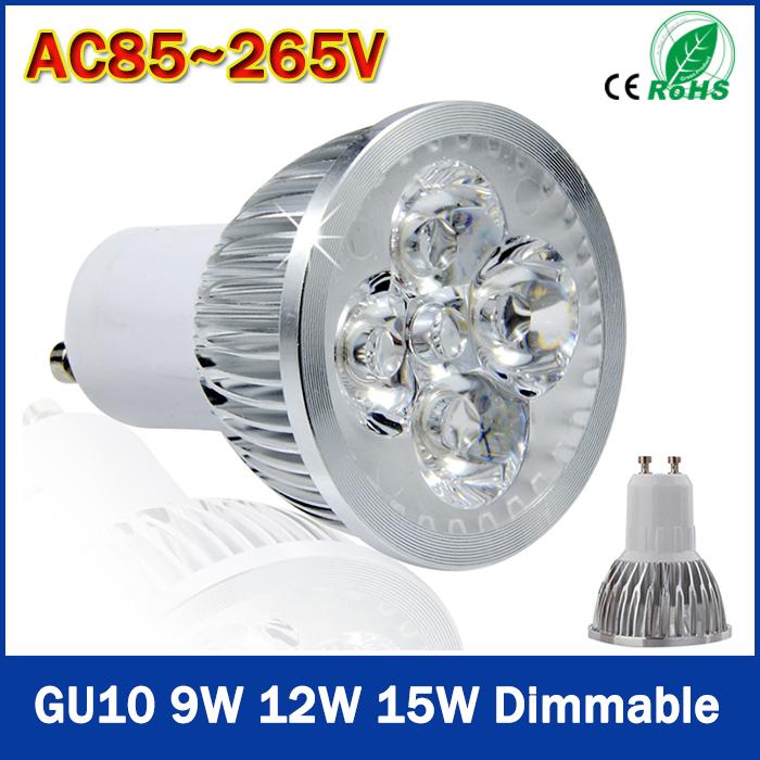 High Quality Spot Light 9W 12W 15W 110V-240V Dimmable Gu10 LED Spotlight Warm Cold White LED Bulb Led Lamp Free Shipping(China (Mainland))