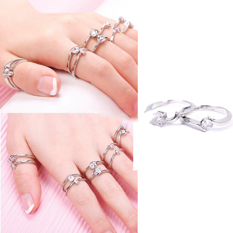 CoolPrice Salable! Fashion Woman Wholesale Lots 10pcs Mixed Silver Zircon Diamond Rings Set 03 rushing to buy(China (Mainland))