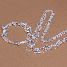 Wholesale 925 Sterling Silver jewelry sets, 925 silver maxi necklace + bracelet wedding jewellery set, joyas de plata 925 S063(China (Mainland))