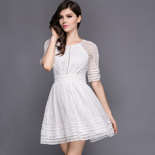 S-XXL Sleeve Dress Casual femininos Crochet Floral Lace embroidery dresses Sheer Boho People Style Women60(China (Mainland))