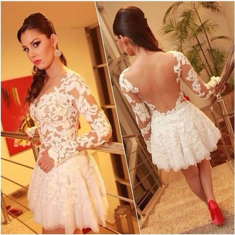 New 2015 Women vestidos Fashion Long Sleeve Sexy Lace Dress Hollow Out White Tulle Dress Hot Selling(China (Mainland))