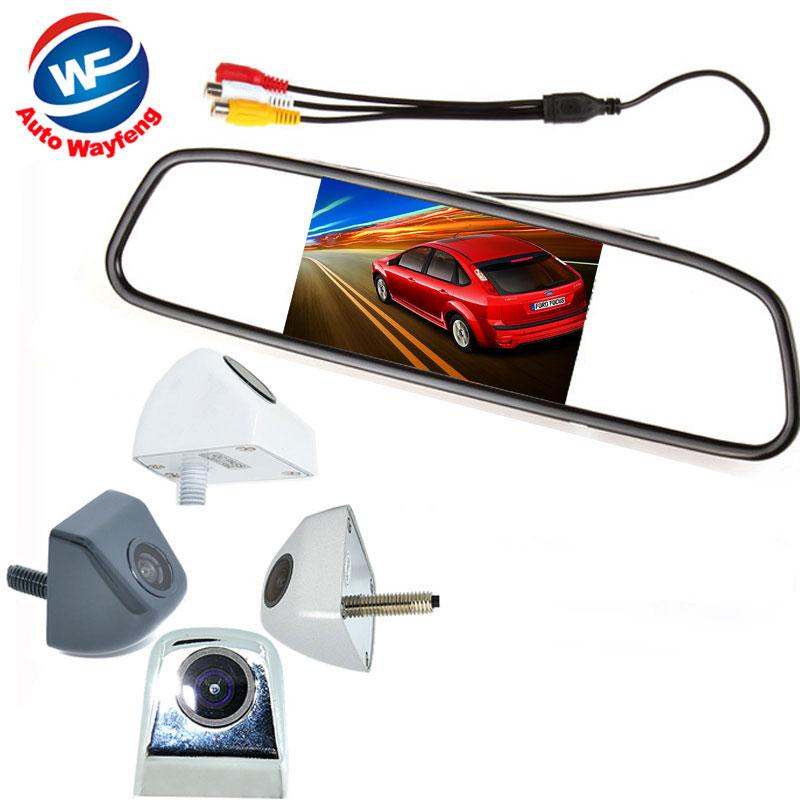 """2 in 1 HD CCD backup reversing Camera +4.3"""" HD 800*480 Car Mirror Monitor , Rear view mirror monitor car parking Rearview camera(China (Mainland))"""