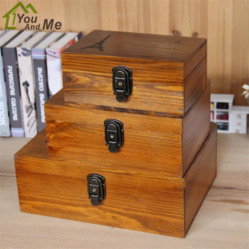 Creative Antique Storage Box Vintage Wooden Chest Treasure Case Jewelry Storage Bins Home Decoration Accessories(China (Mainland))