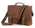 Nesitu High Quality Vintage Brown Men Genuine Leather Briefcase Crazy Horse Leather Messenger Bag 15 6