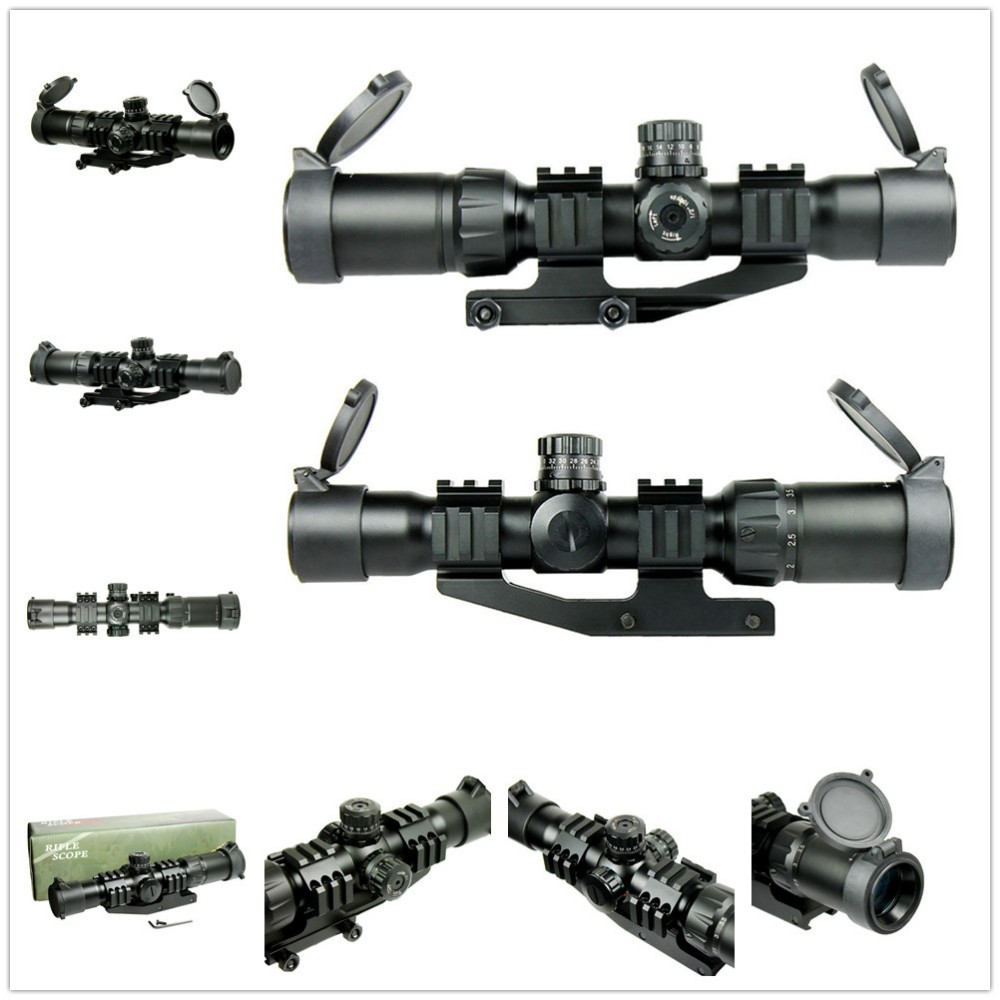 1.5-4X30 Tactical Airsoft Shooting Rifle Scope With Tri-Illuminated Chevron Recticle & PEPR Mount for Hunting Firearm Gun Weapon