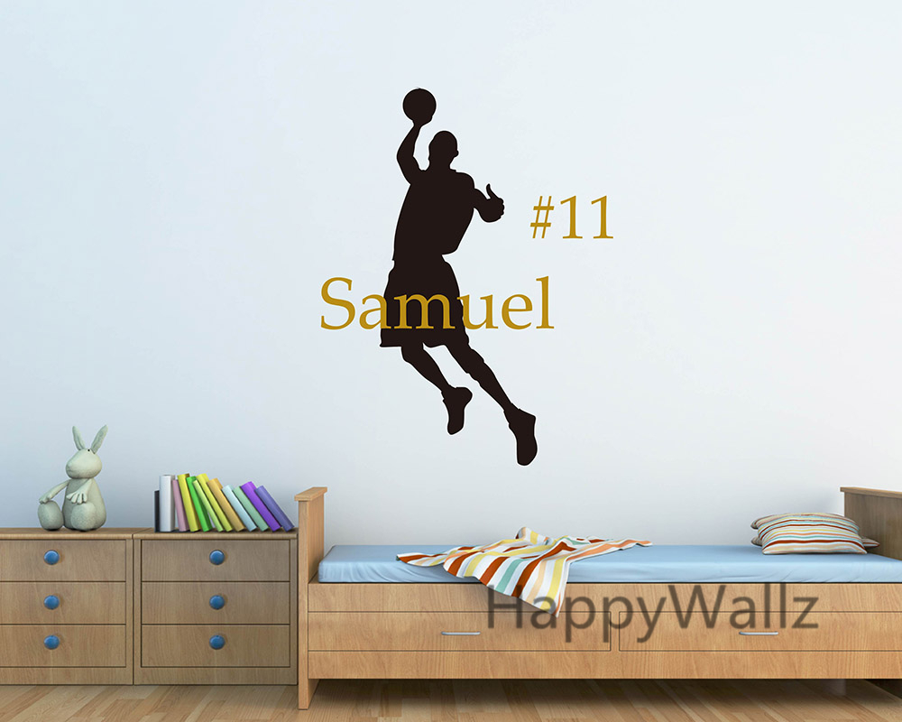 Custom Name Baby Nursery Basketball Player Wall Stickers DIY Basketball Children Name Boys Wall Decals Hot Sale Free Shipping(China (Mainland))