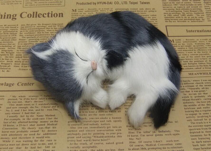 new simulation sleeping cat toy polyethylene & furs handicraft cat doll gift about 14x14cm(China (Mainland))