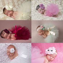 2016 NEW Princess Baby Tutu with Matching Flower Headband Set Newborn Photography Props Little Girl Tutu Skirt 6 colors