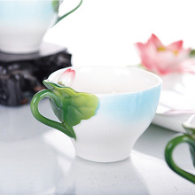 Enamel Porcelain Fashion Cute Tea Mugs Creative Hand Painted Green Red Lotus Flowers Tea Cup Sets