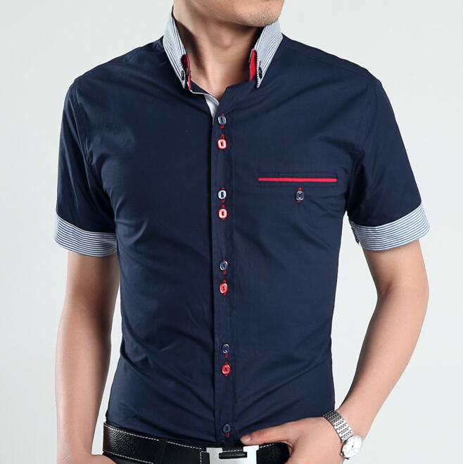 Mens dress shirts short sleeve casual shirt men slim fit for Trim fit tuxedo shirt