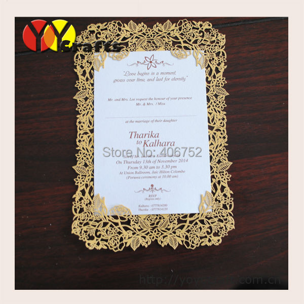 Laser cut wedding invitations, Ideal products wedding cards with rose lace(China (Mainland))
