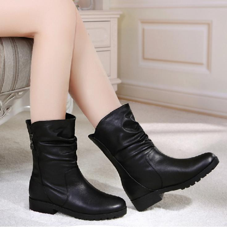 Free shipping  thick heel knee-high flat boots short boots genuine leather martin boots winter  female boots