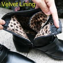 Meotina Xe Máy Bằng Da PU cho Nữ Giày Mùa Đông Đinh Tán Tihck Gót ống Giày Khóa Cổ Ngắn Tăng Đen Khóa Kéo Lông Nữ giày(China)