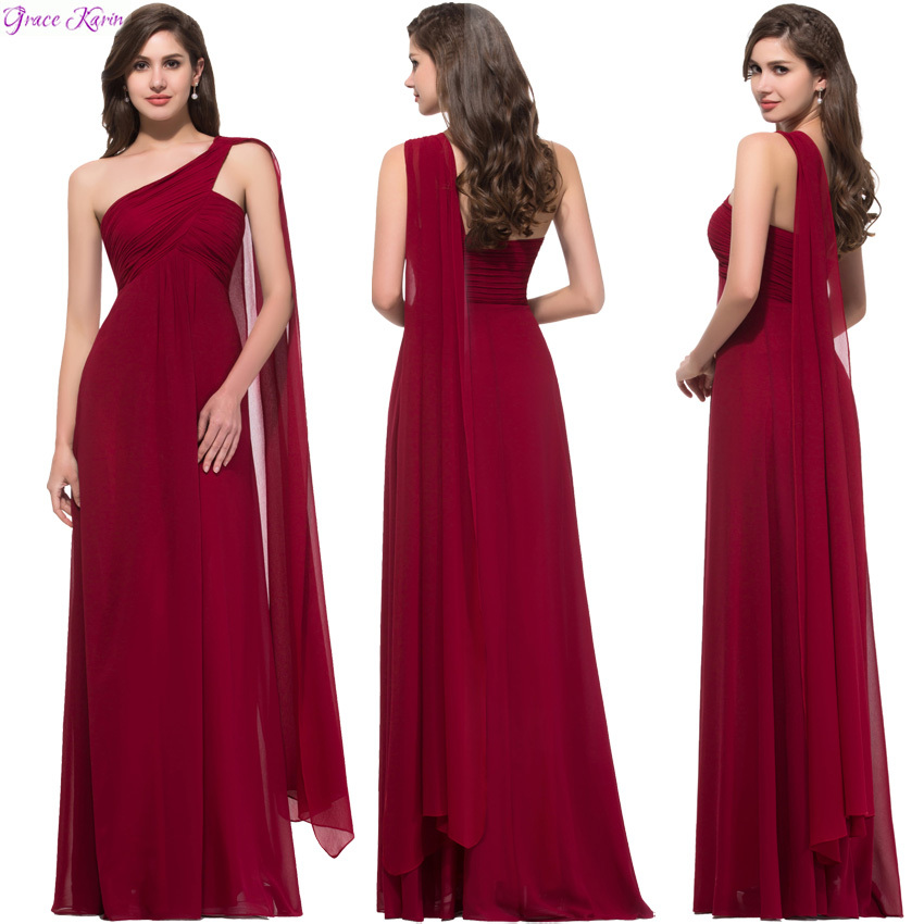 New One Shoulder Vestidos Largos De Noche Red Robe Soiree Long Formal Dress Prom Party Grace Karin Evening Dresses Elegant  8909(China (Mainland))