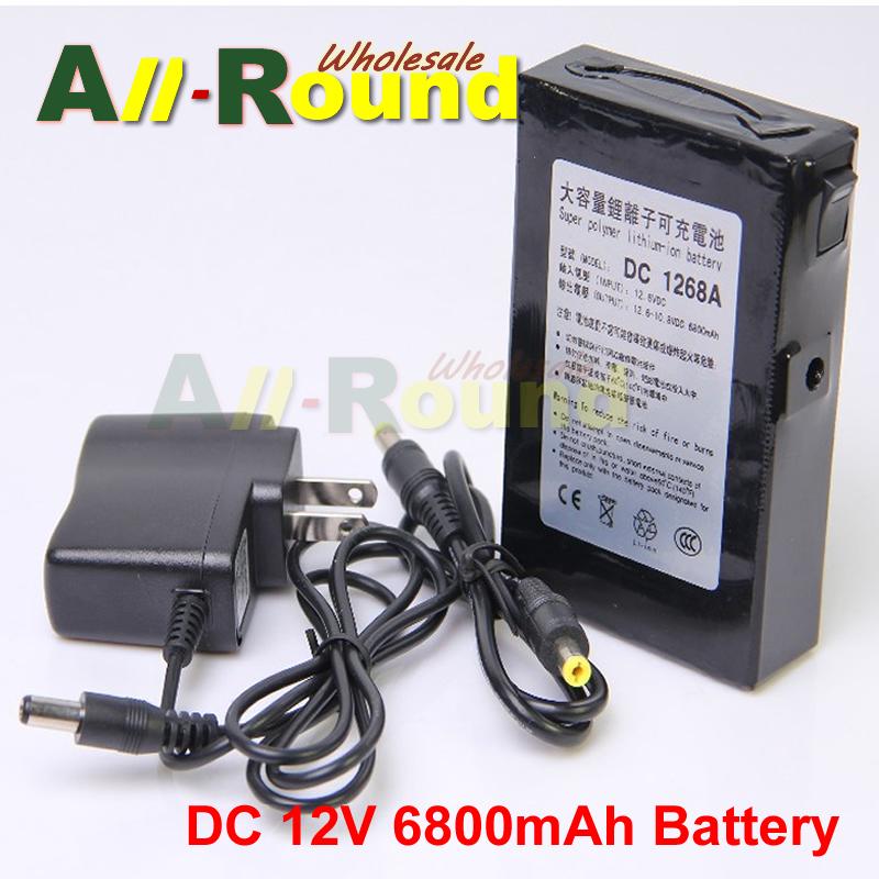 6800mAh DC 12V Super 12.6V Rechargeable Li-ion Battery Pack US/EU/UK Plug free shipping(China (Mainland))