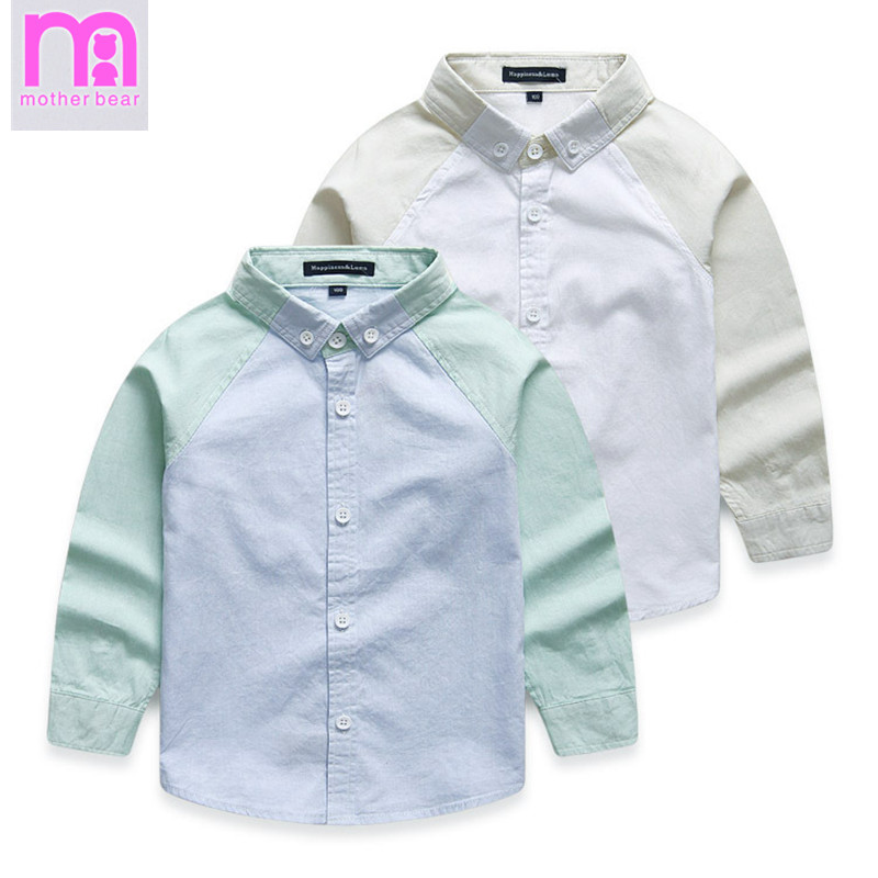 High Quality Autumn Brand Casual 100% Cotton Long Sleeve Kids Shirts 2-10 Years Children School Shirts Blue White Boys Shirts(China (Mainland))