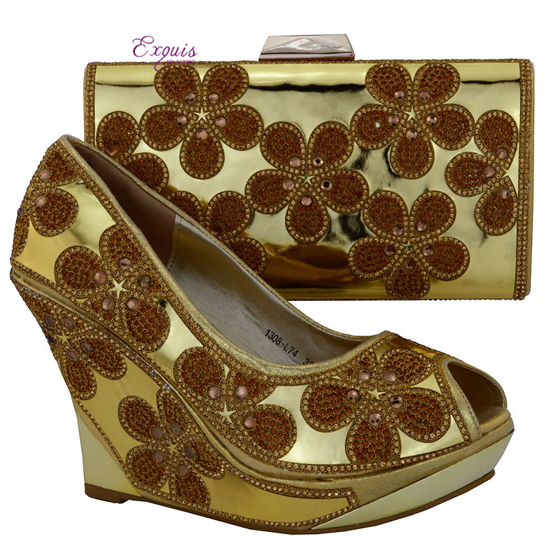 Фотография Hot sale lashion ladies shoes and bags to matching beautiful hight heel shoe and bag set in gold 1308-L74