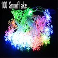 100 LEDs Snowflake Shape 10m Waterproof LED String Fairy Light Decorative Curtain Lighting For Indoor Outdoor