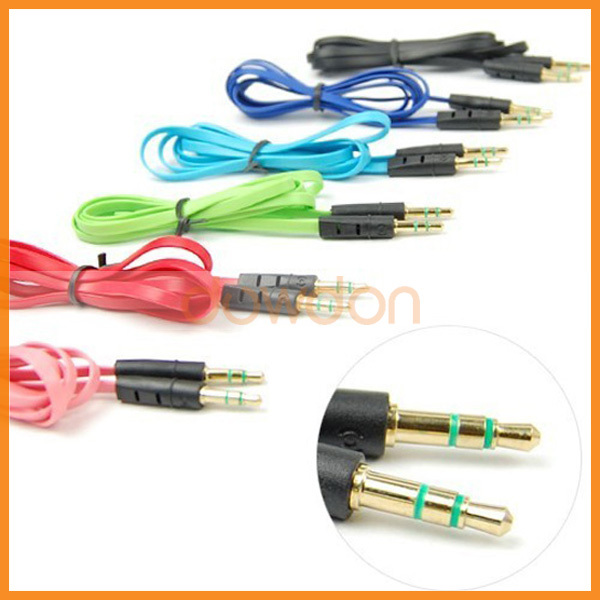 New arrived 1x 3.5mm Male to Male Stereo Audio AUX Flat Cable For iPhone iPod Cellphone(China (Mainland))