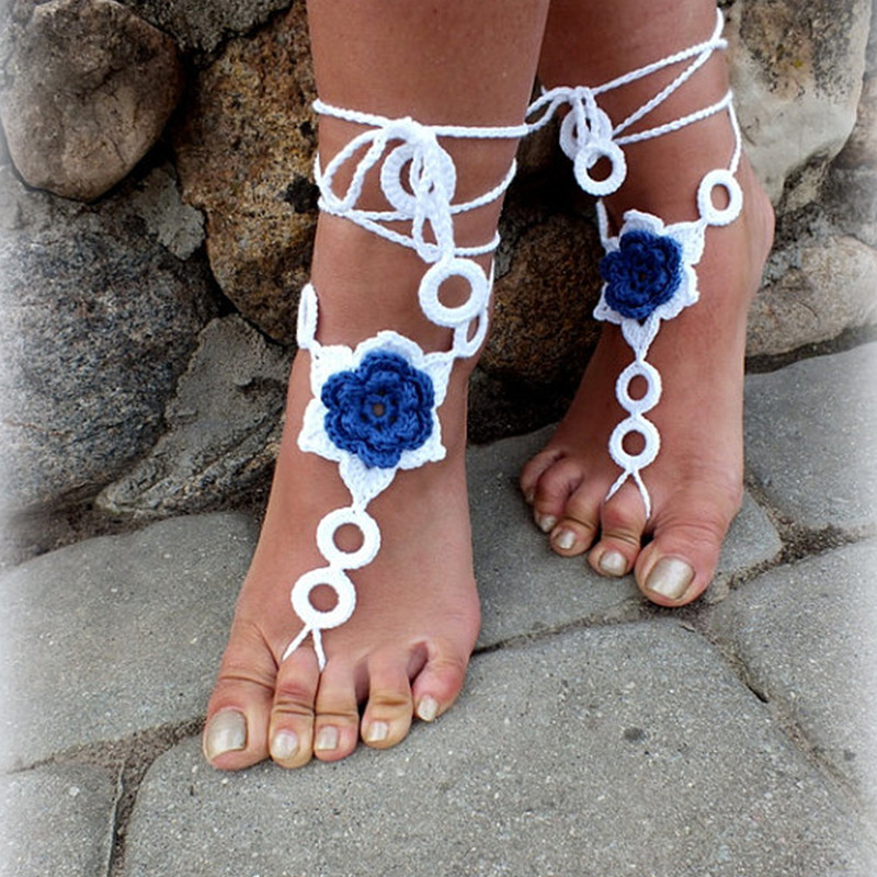 Crochet Barefoot Sandals, Nude shoes, Foot Jewelry, Beach Wedding, Sexy Anklet , Bellydance,Beach Footwear anklet - Country of Origin store