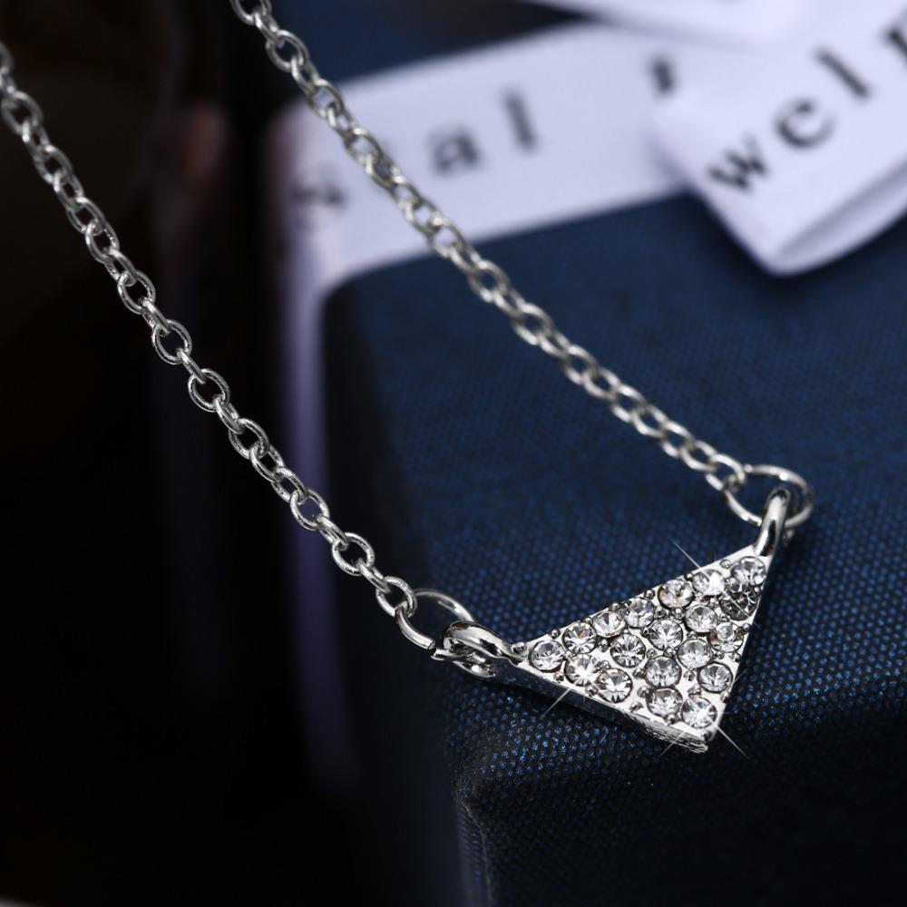 Triangle Stack Necklace Simply Dainty Necklace Minimalistm Jewelry Geometric Triangle Necklace birthstone Pendant jewelry(China (Mainland))