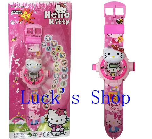 Free Shipping 6 pcs Hello Kitty Projection Table Cartoon Wristwatch 24 Different Projection Pattern Children's Gifts KA106(China (Mainland))