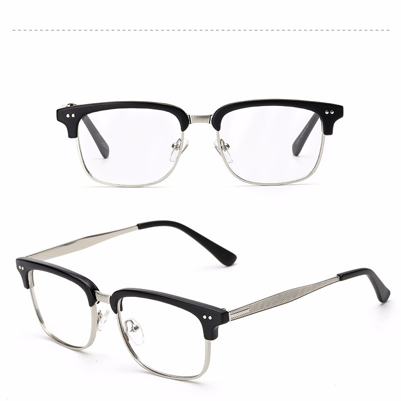 OOBON 2017 Half Frame Eyewear Vintage Eyeglasses Frames for Women Brand Fashion Unisex Eye glasses Frames for Men Plain glass