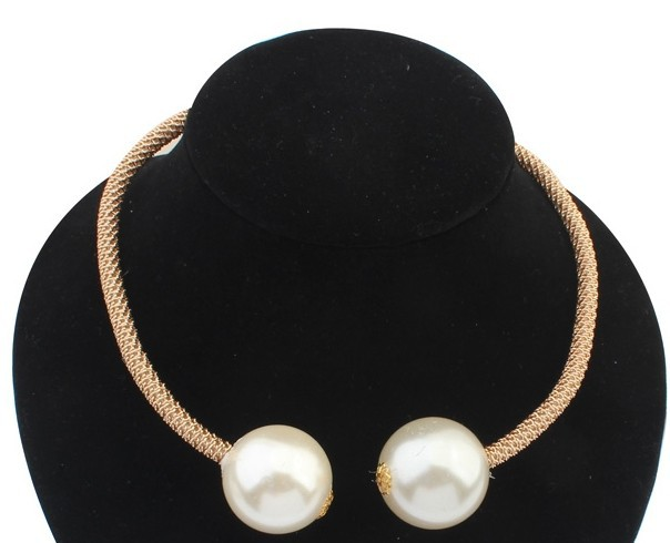 2015 Hot Big Pearl Chokers Statement Necklaces Fashion Jewelry Gold Chain Adjust Double Pearl Chunky Necklace For Women(China (Mainland))