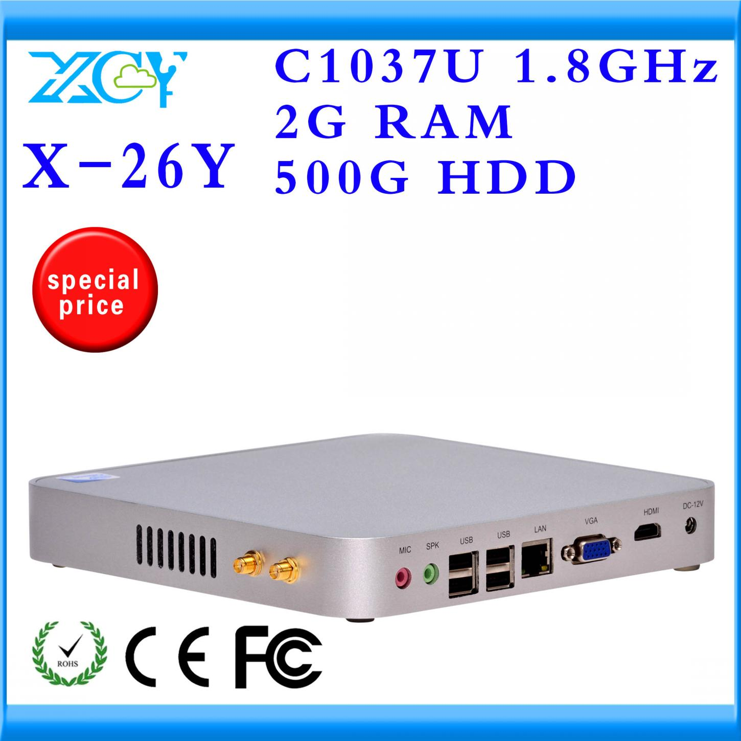 Highest cost effective X-26Y 2gb ram 500gb ssd C1037U fanless thin client Desktop machine network computer support touch screen(China (Mainland))