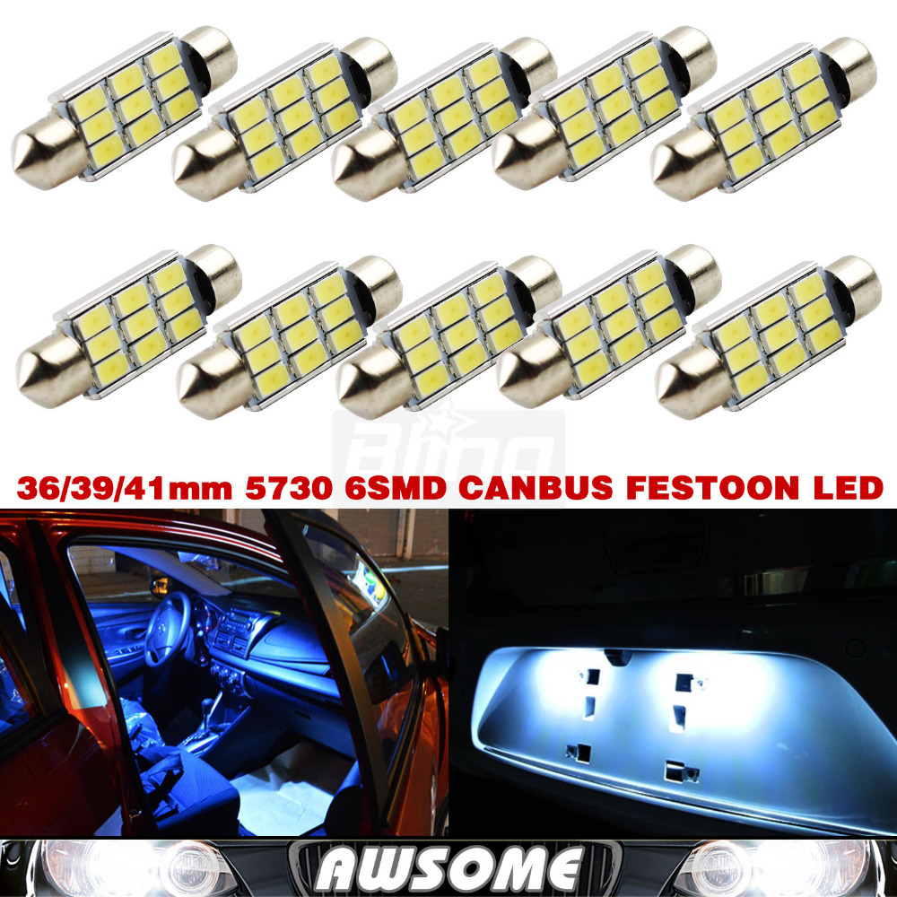 10x Festoon CANBUS Xenon White 36/39/41mm C5W 5730 5630 LED Dome Map Interior Door/Step/Courtesy Licence Plate Light 6428 6430(China (Mainland))