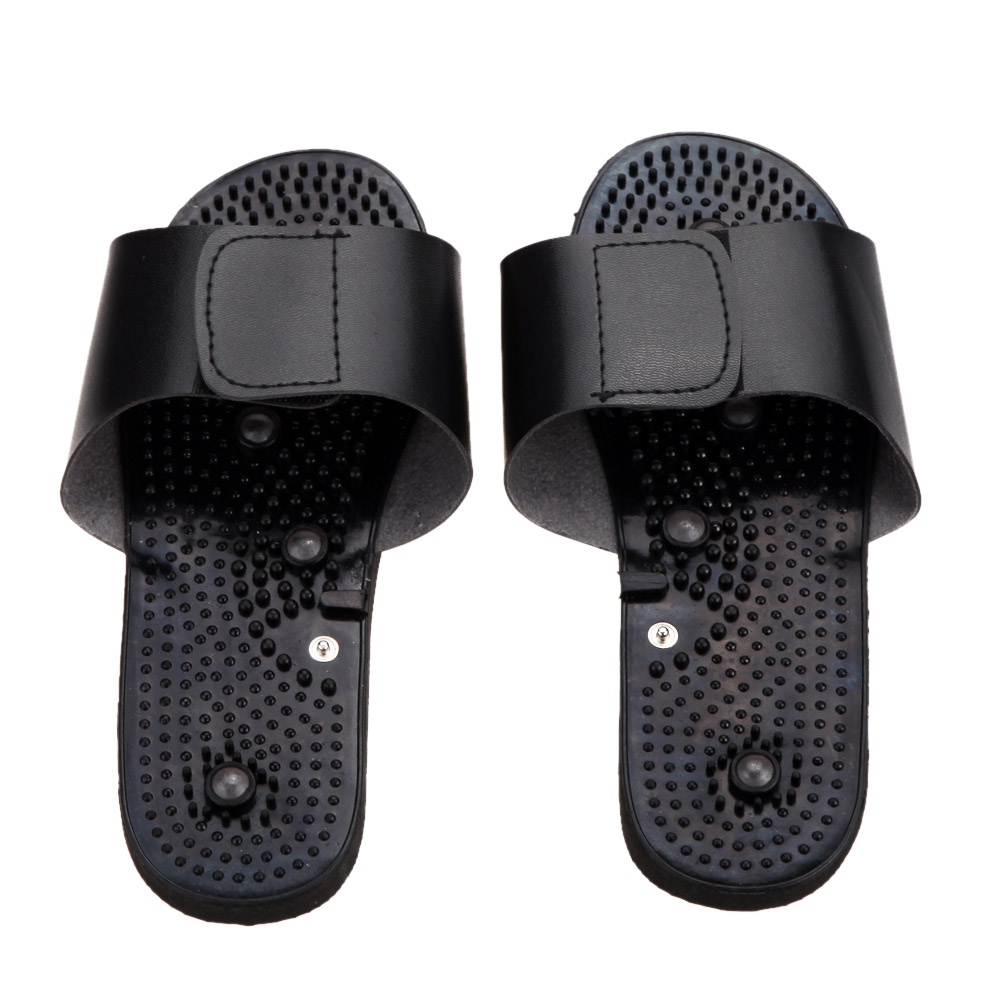 Body Foot Massage Relaxing Black Rubber Electrode Slippers Suit for Tens Acupuncture Therapy Massager Machine Physiotherapy(China (Mainland))