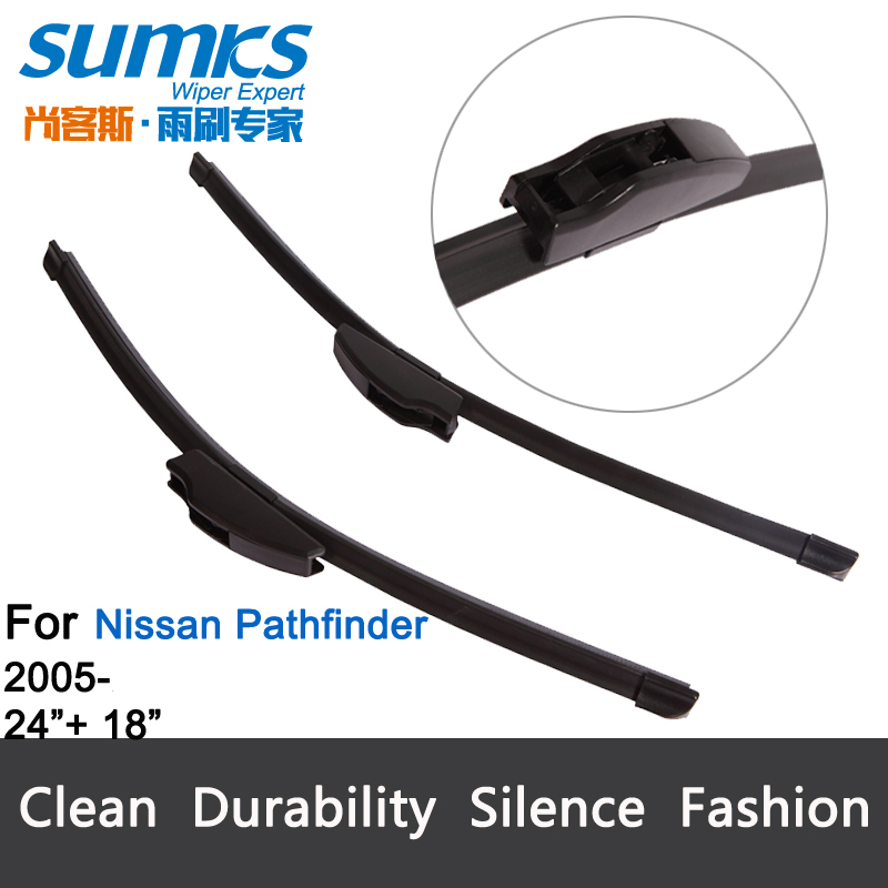 "Wiper blades for Nissan Pathfinder bracketless rubber for font windscreen 24""+18"" fit standard J hook wiper arms onlyHY-002(China (Mainland))"