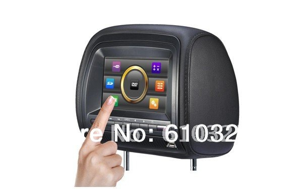 """Hot Sale 7""""Headrest Car Radio Monitor Headrest Car DVD Player Touch Screen Game USB SD IR FM For Retail/Pcs Free Shipping(China (Mainland))"""