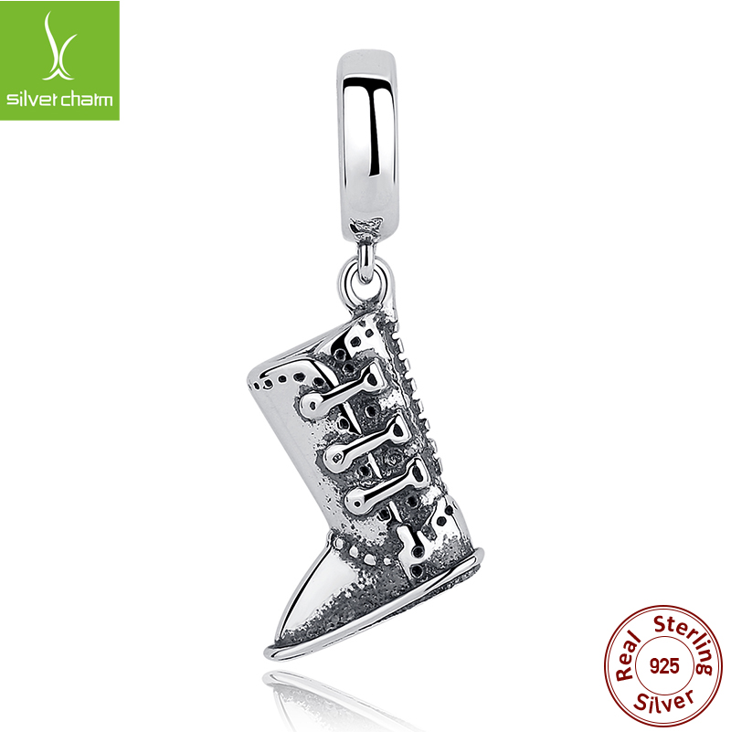 925 Sterling Soild Silver High Boots Charm Beads Fit Original Pandora Bracelet Pendant Authentic DIY Jewelry Gift(China (Mainland))