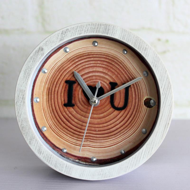 Free Shipping Modern Wooden Tree rings brand I LOVE U Desk vintage Alarm Clock mute(China (Mainland))