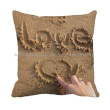 Heart shape with letter love in sandbeach printed pillowcase
