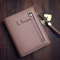 Fashion Japan And Korean Style Small Purse Chain And Tassel Ornament Solid Color Simple Genuine Leather