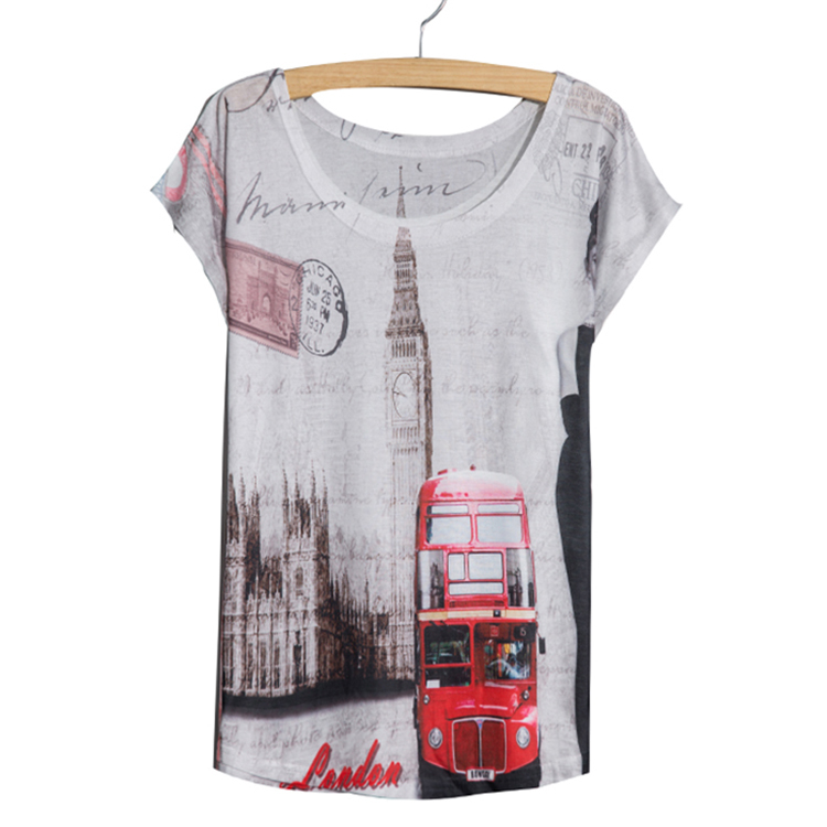 New 2015 Fashion Style Female Ladies' t-shirt white slim Summer thin tees Batwing Sleeve Red Bus Printed Women Top T Shirt(China (Mainland))