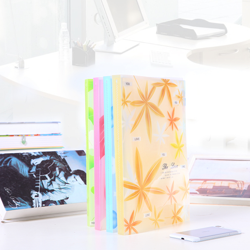 Floral Print Cover Office School 20 Clear Pockets Paper Documents File Folder H0000339(China (Mainland))